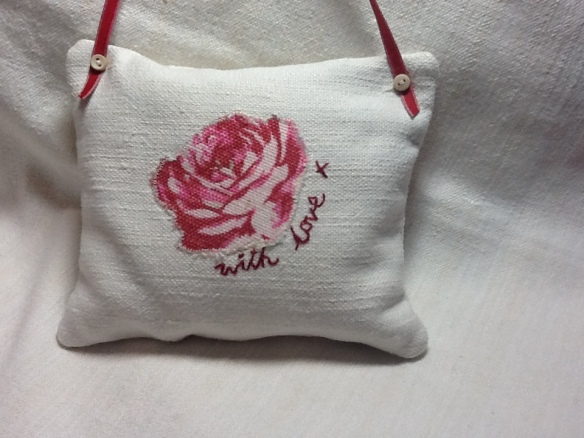 Red rose appliqué and embroidered with love