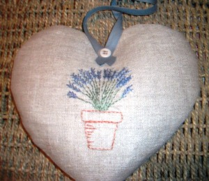 Lavender in a pot embroidery sewn into a heart and filled with fragrant lavender to match the picture